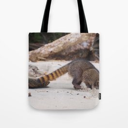 Funny wild racoon feeding in Costa Rica Tote Bag