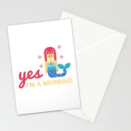 Yes I'm a mermaid - Little mermaid with saying Stationery Cards
