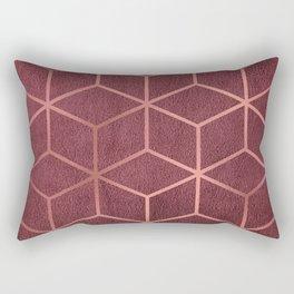 Pink and Rose Gold - Geometric Textured Gradient Cube Design Rectangular Pillow