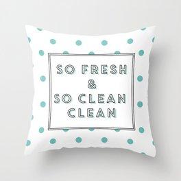 So Fresh and So Clean Clean Aqua Spot Print Throw Pillow