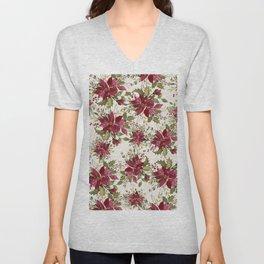 Poinsettia Pattern Unisex V-Neck