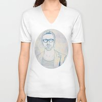 ryan gosling V-neck T-shirts featuring RYAN by Itxaso Beistegui Illustrations