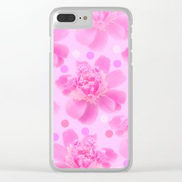 Cute and girly - pink flowers and dots - pink tones - #society6 #buyart Clear iPhone Case
