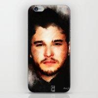 john snow iPhone & iPod Skins featuring Kit Harrington aka John Snow by André Joseph Martin