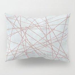 Rose Gold Glitter Line Art On Teal Pillow Sham