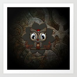 Cute little steampunk owl with floral elements Art Print