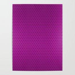 Metallic Neon PInk Graphite Honeycomb Carbon Fiber Poster