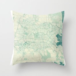 Christchurch Map Blue Vintage Throw Pillow