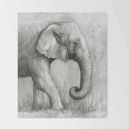 Elephant Black and White Watercolor Throw Blanket