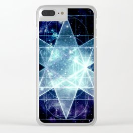 Galaxy Sacred Geometry : Stellated Icoshadron Blue Clear iPhone Case