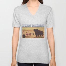 Rural America cattles herd vintage US post stamp Unisex V-Neck