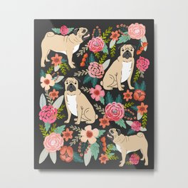 Pugs of spring floral pug dog cute pattern print florals flower garden nature dog park dog person  Metal Print