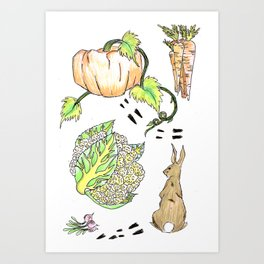 Bunny in The Veg Patch Art Print