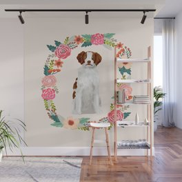 brittany spaniel dog floral wreath dog gifts pet portraits Wall Mural