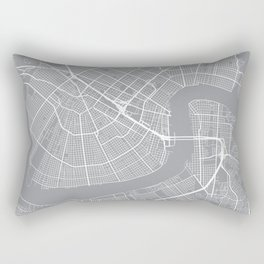 New Orleans Map, Louisiana USA - Pewter Rectangular Pillow