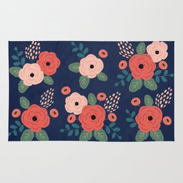 Flower Pattern, Pink Red Flowers on Blue, Vintage, Floral Rug