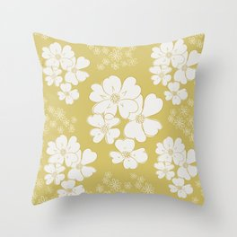 White thoughts on gold Throw Pillow