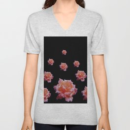 ROMANTIC ANTIQUE PINK ROSES ON BLACK Unisex V-Neck