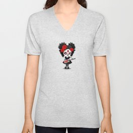 Day of the Dead Girl Playing Union Jack British Flag Guitar Unisex V-Neck