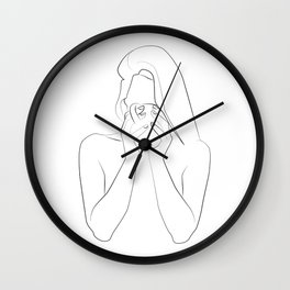 morning coffee woman one line minimal art, coffee lovers caffeinoholic Wall Clock