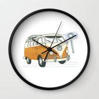 volkswagen Wall Clocks featuring Volkswagen by Valesca van Waveren