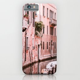 Venice pink canal with old buildings travel photography iPhone Case