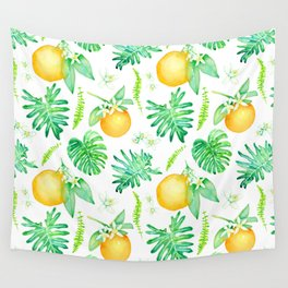 Citrus Tropics - White Wall Tapestry