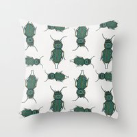 beetle Throw Pillows featuring Beetle by artworkbyemilie