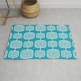 Mid Century Modern Atomic Rings Pattern Turquoise Rug
