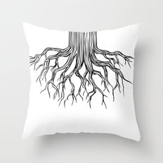Tree Root Drawing (black on white) Throw Pillow