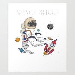 Awesome Space Sheep Astronaut Cute Animal Art Print