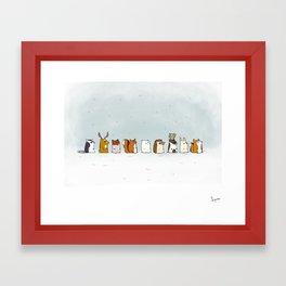 Winter forest animals Framed Art Print