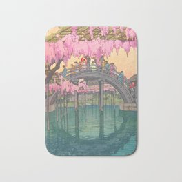 Yoshida Kameidô Japanese Woodblock Print Vintage Asian Art Wisteria Garden Bridge Bath Mat