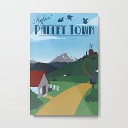 Pallet Town Travel Poster Metal Print
