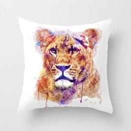 Lioness Head Throw Pillow