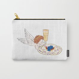 Illustration of Little angel holding a glass of champagne and a plate of pie with creamy caviar Carry-All Pouch