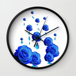 DRIPPING WET BLUE ROSES  DESIGN Wall Clock