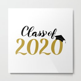 Class of 2020 lettering with graduation hat. Congratulations to graduates.  Metal Print