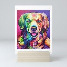 Colorful Watercolor Golden Retriever Mini Art Print