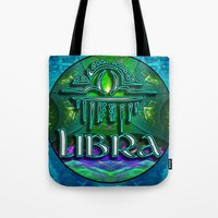 astrology Tote Bags featuring Libra Zodiac Sign Astrology by CAP Artwork & Design