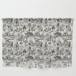Alice in Wonderland   Toile de Jouy   Black and Beige Wall Hanging