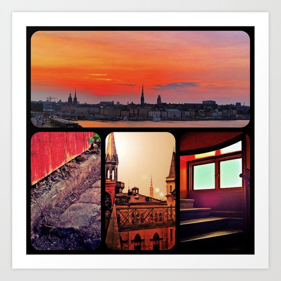 Stockholm in red Art Print