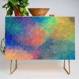 Reflecting Multi Colorful Abstract Prisms Design Credenza