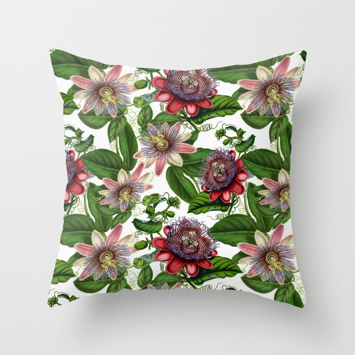 Vintage Shabby Chic Retro Passiflora Pattern Throw Pillow By