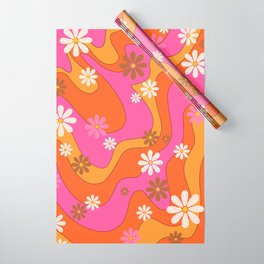 Groovy 60's and 70's Flower Power Pattern Wrapping Paper