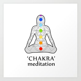 Woman in meditation with the seven chakras and its respective colors Art Print