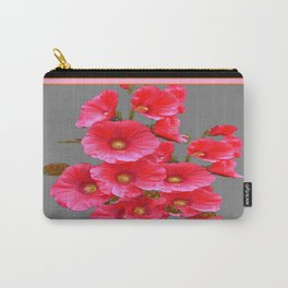 Bright Pink Hollyhock Flowers Black-grey FramedArt Carry-All Pouch