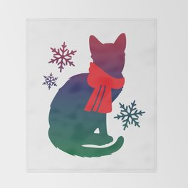 Winter Cat Throw Blanket