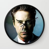 robert downey jr Wall Clocks featuring Robert Downey Jr 001 by TheTreasure