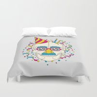 happy birthday Duvet Covers featuring Happy Birthday by Quick Brown Fox